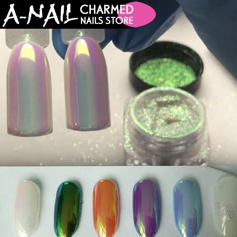 A Nai 0 2g boxl Unicorn Nail Art Glitter Chrome Powder Chrome Aurora Pigment Mermaid