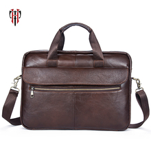 TIANHOO 2019 Fashion business briefcase handle man bags for work 14 inch laptop package 100% genuine leather totes