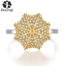 Fashion Crystal Elegant Umbrella Shaped Plated Rings For Women Engagement Wedding Fine Jewelry(China)