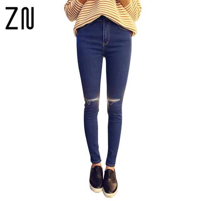New Fashion Holes Pencil Skinny Pants High Waist Ripped Jeans Women Stretch Pants 2 Colors For Choose