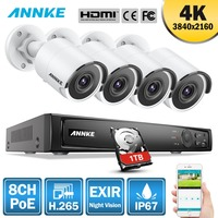 ANNKE 4K Ultra HD PoE Network Video Security System 8CH 4K H.265 Surveillance NVR 4x4K HD IP67 POE CCTV Cameras with 1T HDD