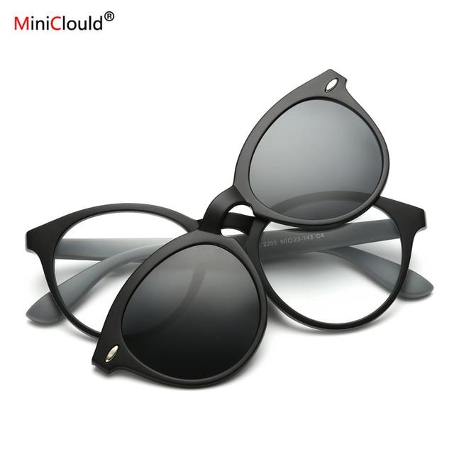 04313960f8382 Ímã Óculos De Sol Grampo Em Ímã Óculos de Visão Noturna Óculos Círculo  Lentes Lentes De