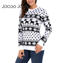 Jocoo Jolee 2018 Winter Deer Snow Pattern Patchwork Sweater Christmas Knitting Pullover Casual Knitted Jumpers New Style
