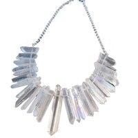 Raw Crystal Point Necklace Crystal Bib Statement Necklace Raw Quartz Necklace Healing Crystal Necklaces Bohemian Wedding