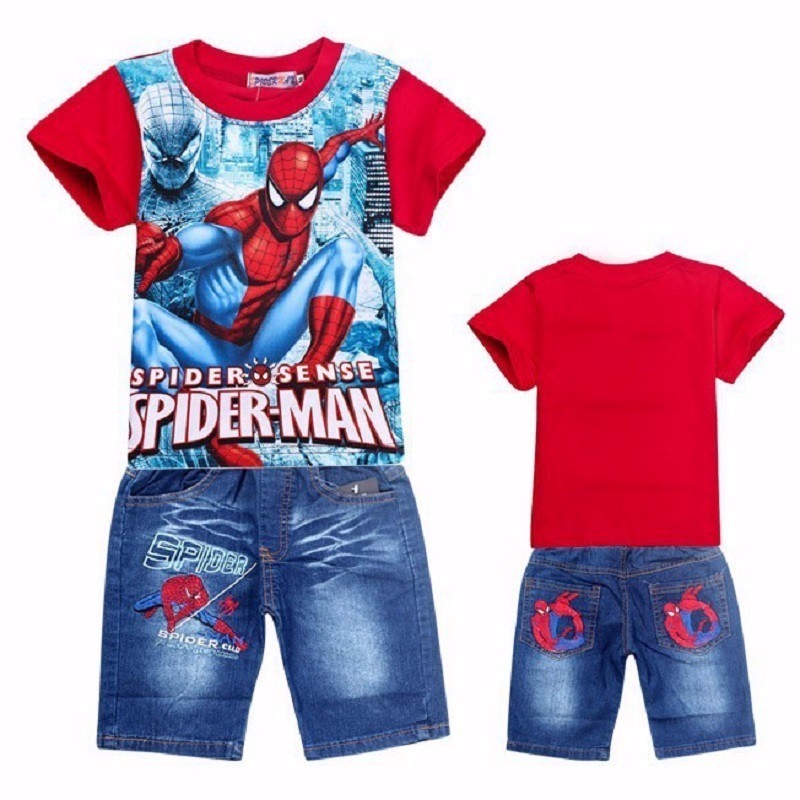 spiderman children clothing set for kids cartoon baby jeans suit retail boys short sleeve t shirt pants boy clothes