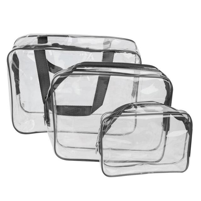 3-In-1 PVC Portable Travel Transparent Cosmetic Tote Bag Toiletry Organizer Handbags Pouch Waterproof Make Up Case