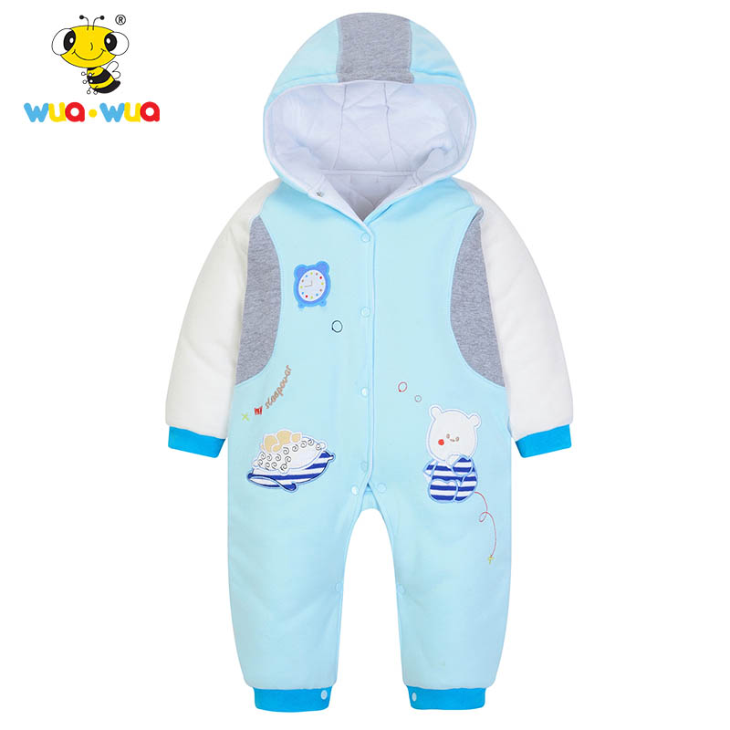 Wua Wua Winter Warm Fleece Baby Boy Rompe Thicken Cotton Jumpsuits Newborn Hooded Rompers Coverall Baby Girls Infant Clothes