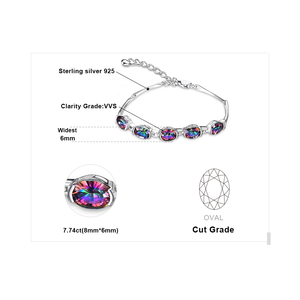 6ct Concave Oval Äkta Mystisk Rainbow Topaz Armband Solid 925 - Fina smycken - Foto 5