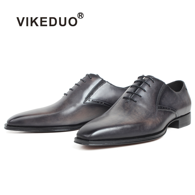 VIKEDUO Black Gray Patina Handmade Oxford Shoes For Men Genuine Cow Leather Blake Custom Made Wedding Office Dress Men's Shoes