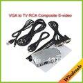 Frete grátis Universal PC VGA para TV RCA AV Signal adaptador Video Converter Mudar Box Suporta NTSC PAL para computador periféricos