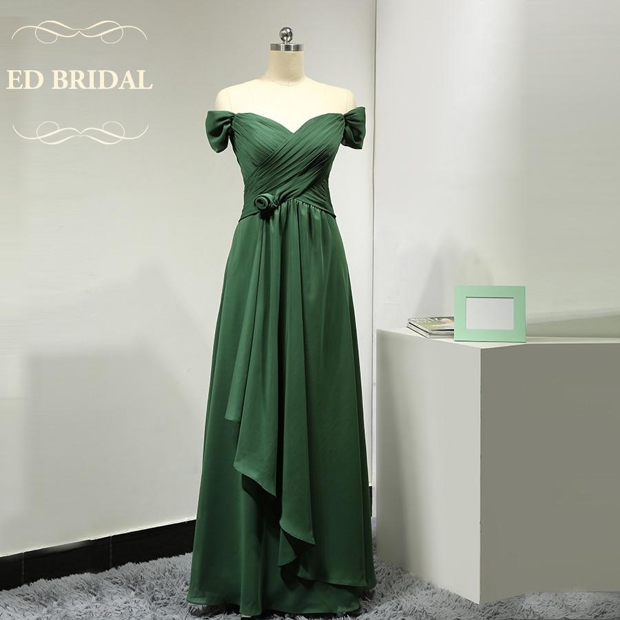 Custom made off the shoulder short sleeves dark green long for Made of honor wedding dress