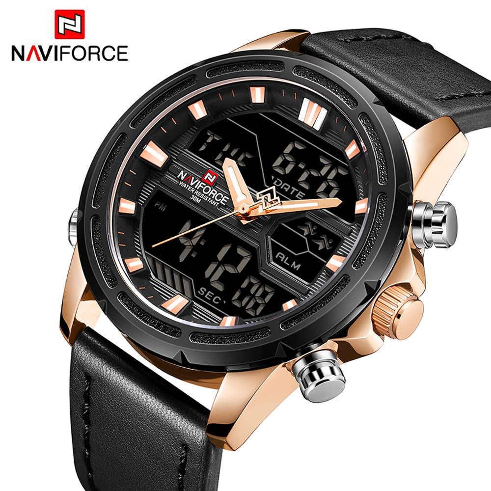 NAVIFORCE Top Luxury Brand Stainless Steel Quartz Watch Men Clock LED Digital Army Military Sport Wristwatch relogio