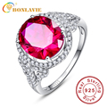 New Arrival 925 Sterling Silver Rose Red Oval Pigeon Women Rings Female Ring Size 6 7 8 9 Fashion Brand Ruby Jewelry 2016