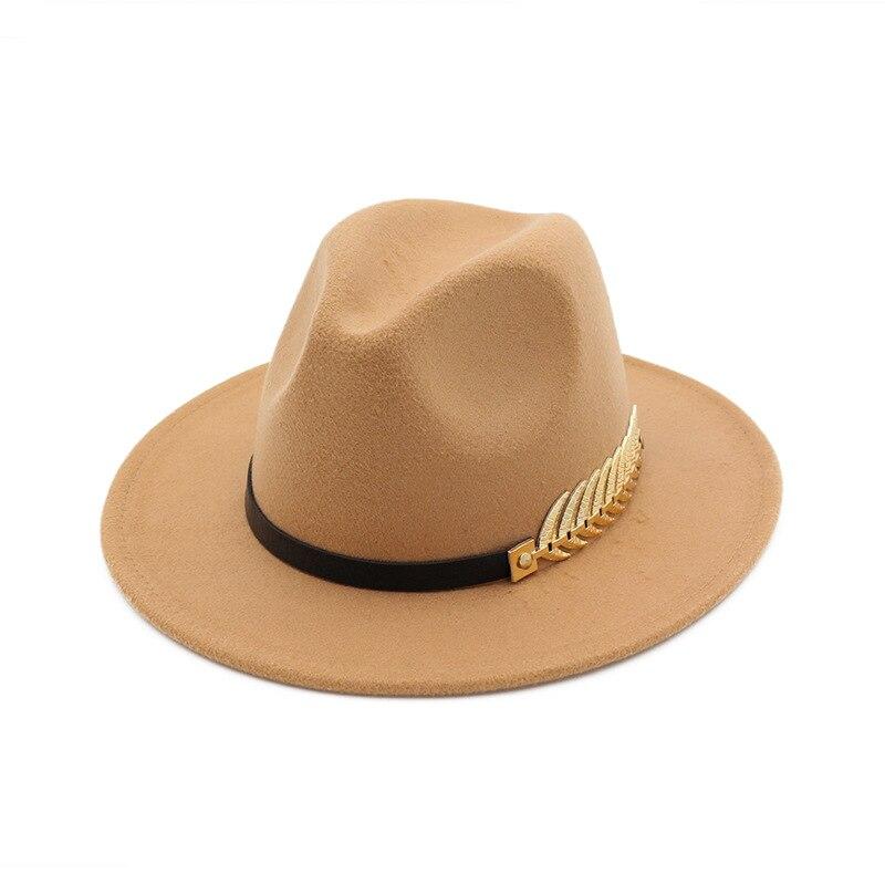 6408e9f79 Woolen Felt Hat Panama Jazz Fedoras hats with Metal Leaf Flat Brim ...
