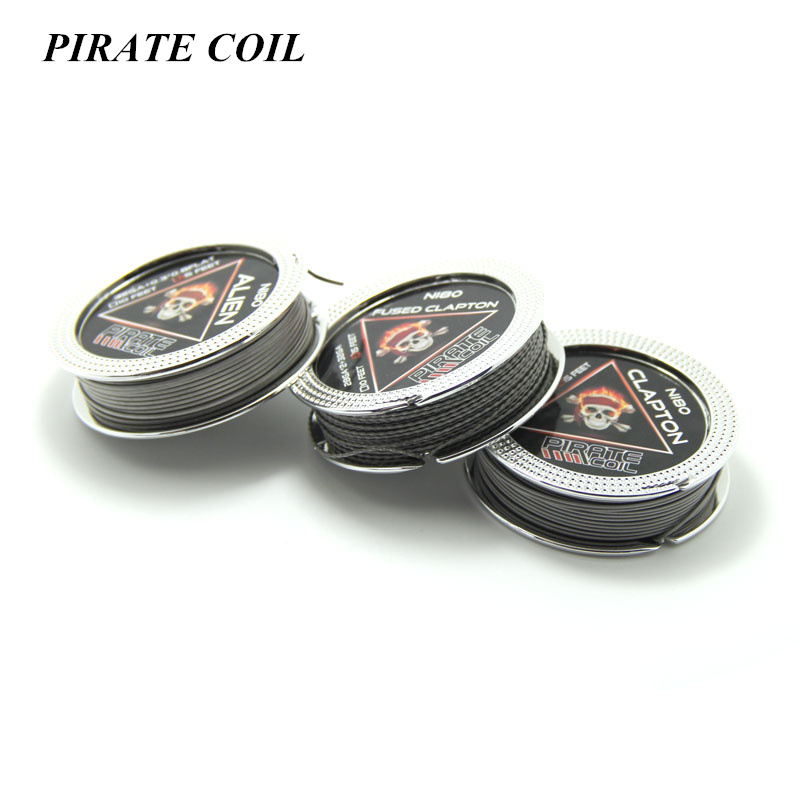 PIRATE COIL 15feet/roll Alien wire PIRATE Wire NI80 Fused Clapton Wire for RDA RBA Rebuildable Atomizer Heating Wires Coil for