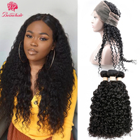 BeauHair Peruvian Water Wave Hair with 360 Lace Frontal Human Hair 2/3 Bundles with 360 Lace Closure Non Remy Hair extension