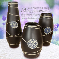 Supply of blue and white vase white lines three piece fashion crafts pottery home accessories 7121 #