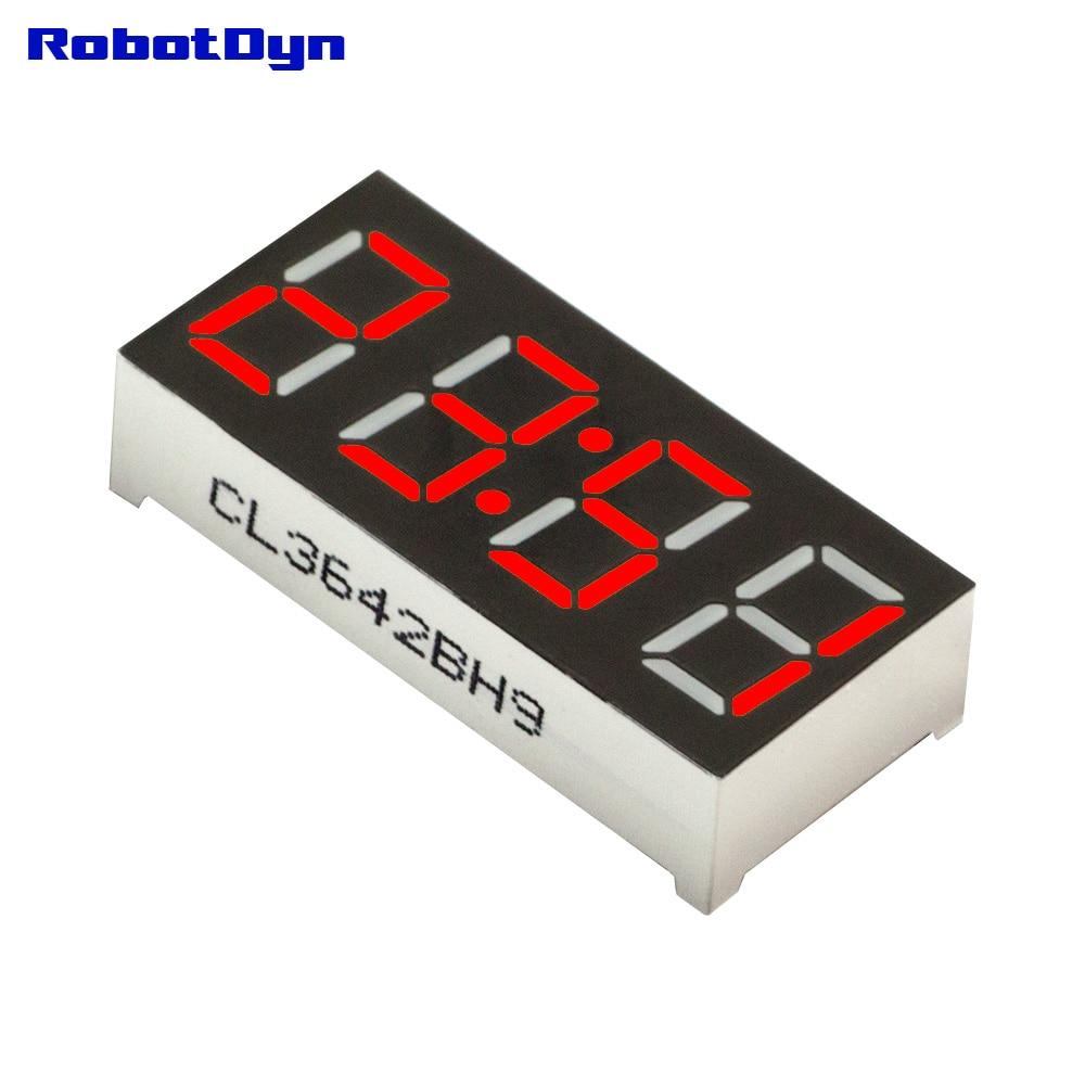 5pcs = 4-Digit 7-segments LED Display tube, doubledot/clock, RED, disp. size 30x14mm, 0.36