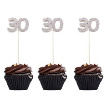 48pcs Glitter Number 30 Cupcake Toppers 30th Birthday Celebration Party Decors Dirty Favor Free Shipping