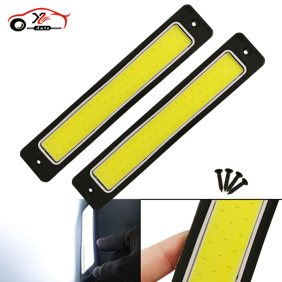 car-styling 2Pcs Super Bright Flexible Waterproof COB DRL Daytime Running Lights Driving Fog Light White 190x35mm Free Shipping flexible bandable straight line cob drl daytime running lights dc12v 16w high power white e4 waterproof car fog lights