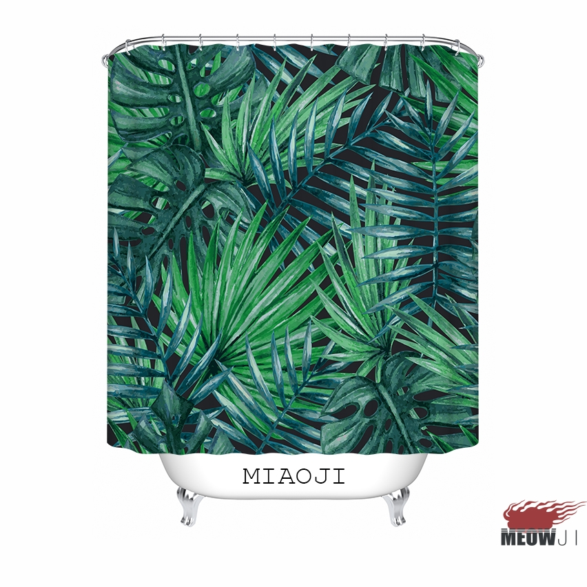 miaoji lost in the jungle botanical garden green leaves fabric shower curtain bathroom decor free shipping