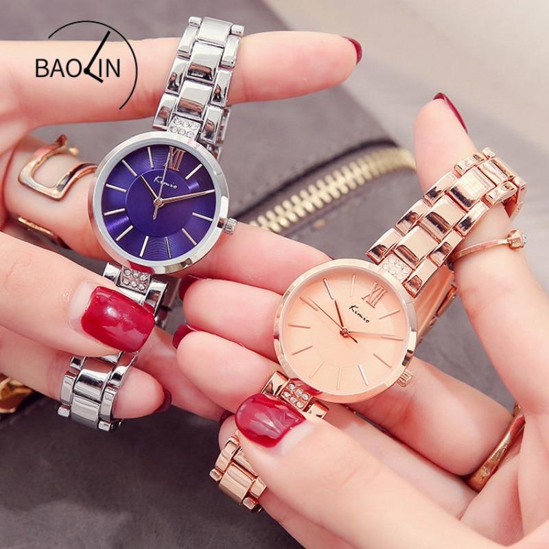 KIMIO Thin Clock Women Fashion Simple Watches Rhinestones Dress Woman Watch Rose Gold Quartz Ladies Women's Watch Wristwatch 5