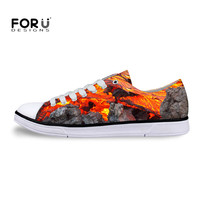 FORUDESIGNS New 3D Volcano Magmatic Style Printing Canvas Shoes Man Breathable Casual Canvas Izicathulo Flat Lady Girl Shoes