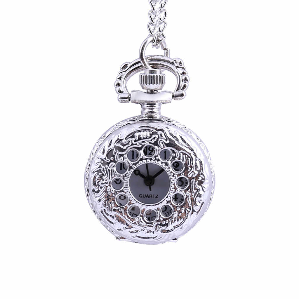 Vintage Round Dial Quartz Small Pocket Watch Classical Roman Scale Pocket watch man woman kid gift necklace clock Couple old man