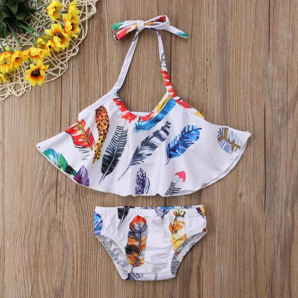 9c70c3b4633 Detail Feedback Questions about 2018 Summer Toddler Kids Baby Girls Feather  Print Swimwear Bikini Set Ruffle Bandage Backless Swimsuit Bathing Suit ...