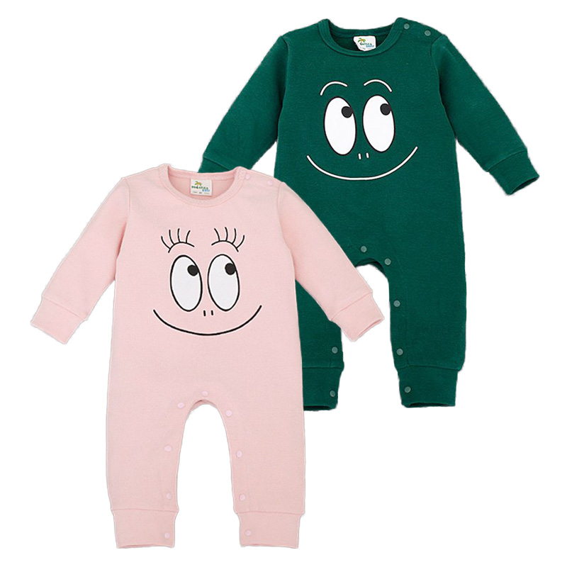 Babybody Bomull Vår Baby Girl Romper Smile Face Roupas Infantis Meninos Langermet High Quality Fabric Infant Clothing