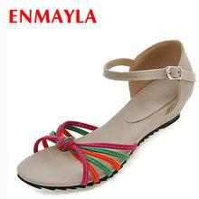 ENAMYLA de verano zapatos de mujer zapatos de cuero nobuck colores  mezclados de tacón bajo cuñas sandalias Plus tamaño Casual Mu. 460a56ffc52d