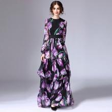 Custom Dress S-7XL 2017 Осень Новый Шелковый Красочные Тюльпаны Печати О-Образным Вырезом Полный Рукавом Элегантный Черный Длиной до пола Long Dress женщины