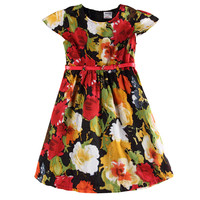 Nova Kids Summer Double Girl Dress Short Sleeve Floral Printed Girl Dress With Sashes New Newest