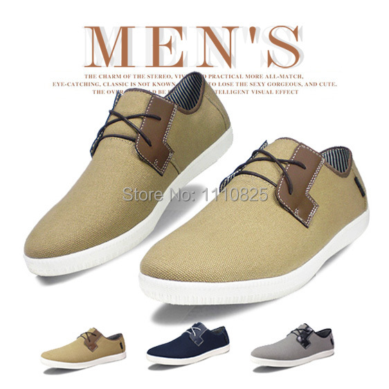 ФОТО Free shipping, the new trend of low Flats, leisure breathable canvas shoes, (dark blue, grey, khaki), size:44-50