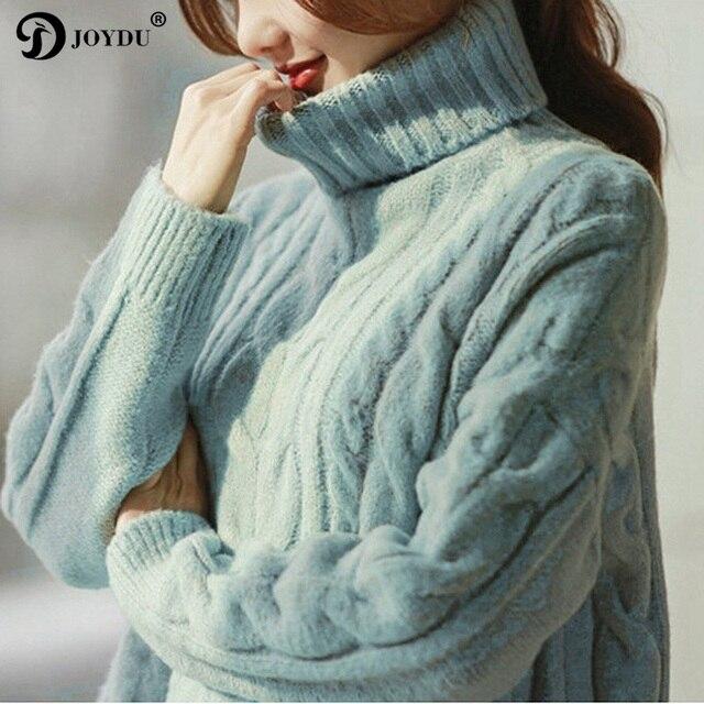 JOYDU Korean Fashion Thick Winter Turtleneck Women Sweaters and Pullovers  2018 New Design Twist Casual Loose Jumper Knit Poncho f0a86764da42