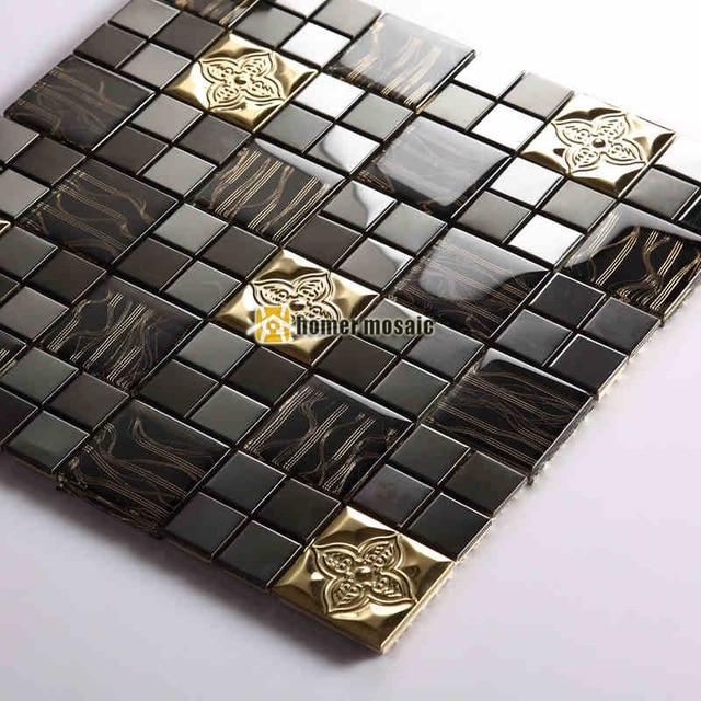 Black Color Glass Mixed Metal Mosaic Tiles For Wall Tiles Kitchen  Backsplash Tiles Bathroom Shower Tiles