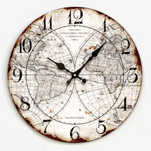34cm Large decorative wall clocks with world map print modern design silent Living Room wall watches for home decor