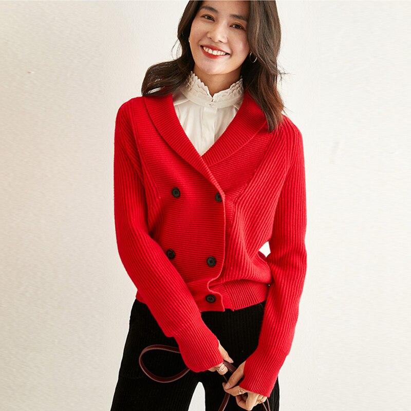 Frauen Mode Zweireiher 2 Colors2019 100Kaschmir Kragen Strickjacken Langarm KhakiRot Strickwaren Mantel Schal Solide Neue O8knw0P