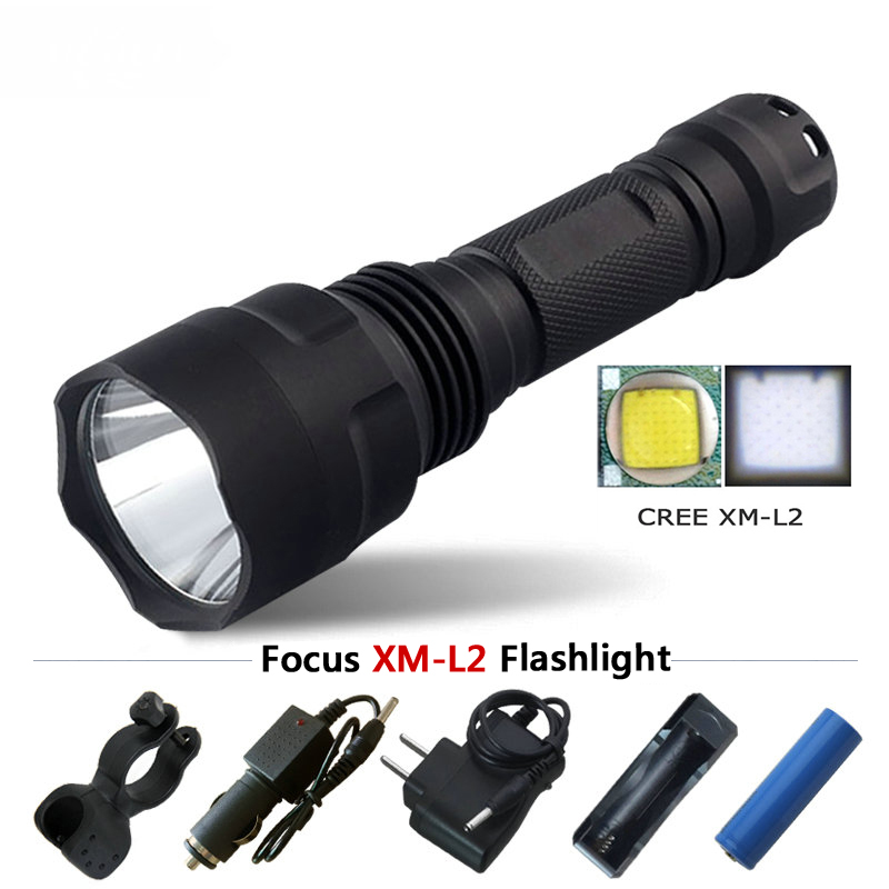 led flashlight tactical cree xm l2 t6 flash light self defense torch search linterna for ...