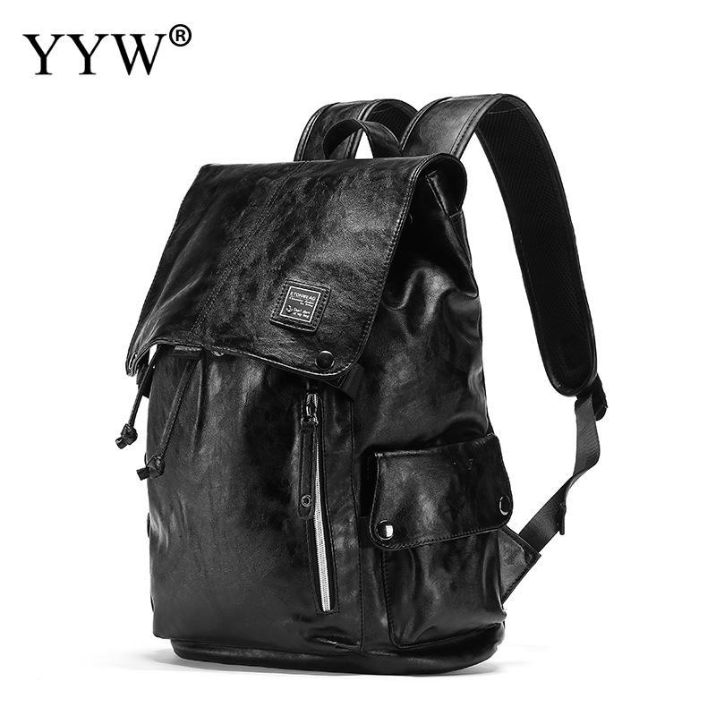 Sac à dos PU noir grande capacité pour homme sac à dos en cuir pour ordinateur portable pour homme de haute qualité 2018 couvert et cordon de voyage sac d'école