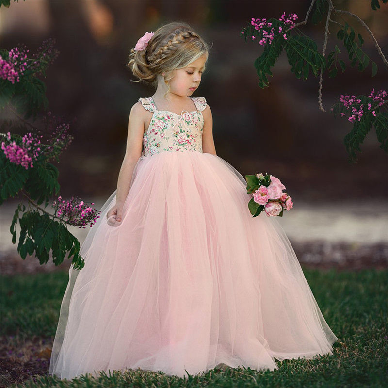 Emmababy Fashion Toddler Girls Princess Dresses Pageant Wedding Party Sleeveless Flower Lace Dress For Birthday Kids Gifts