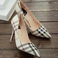 Inglaterra xadrez sapatos bombas de fundo vermelho sapatos de salto alto modelo de luxo da marca sapatos de sola vermelha mulheres verifica sapatos
