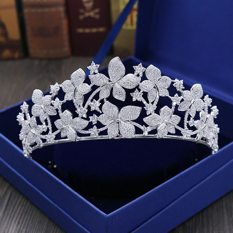 SLBRIDAL Vintage Prong Setting Clear Cubic Zircon Wedding Tiara CZ Bridal Queen Princess Pageant Royal Party