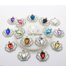 10pcs/set 28mm*36mm Imperial Crown Diamond Rhinestone Buttons Acrylic for Wedding Child Hair Bow Jewelry Accessories Decorative