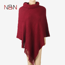 2017 Winter Poncho Women Casual Turtleneck Thick Sweater Batwing Shawl Cape Pullover Knitted Jumper Fashion Striped Sleeveless