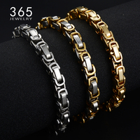 Mens Jewelry 2017 Stainless Steel Byzantine Chain Bracelet Charms Silver Gold Wedding Friendship Bracelets Bangles For