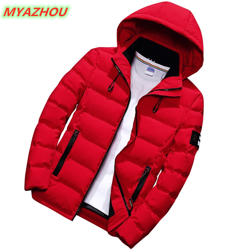 2019 winter new thick warm jacket fashion men's slim casual hooded jacket large size 5XL men's cotton thick coat red black green