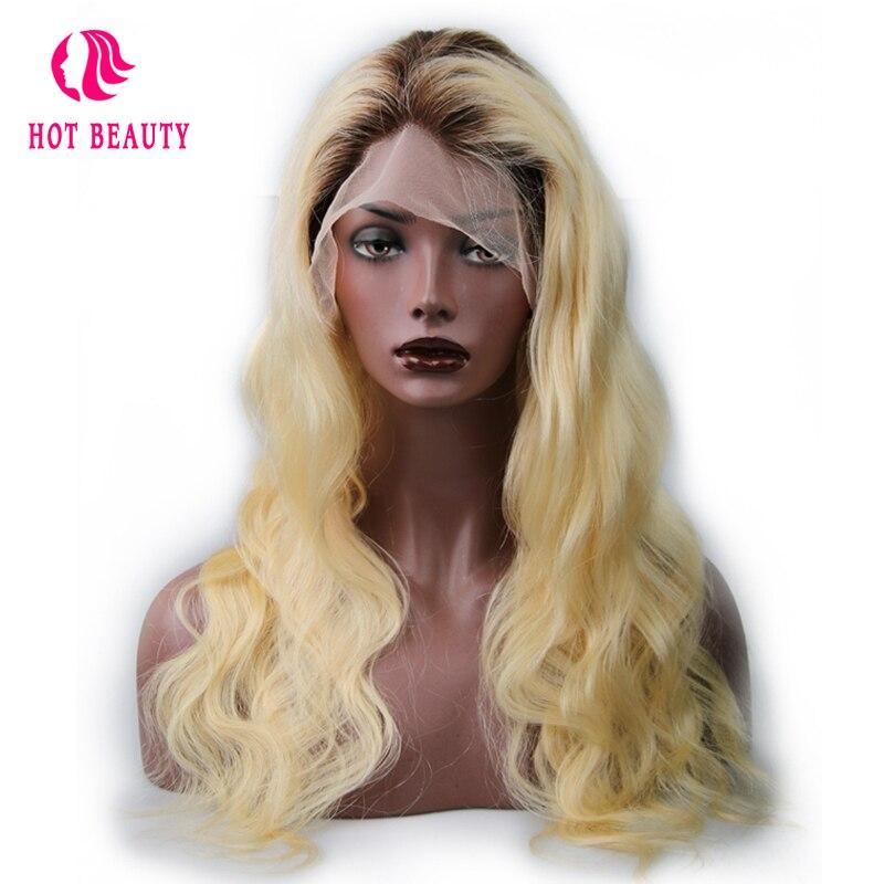 Chaude Beauté Cheveux Full Lace Perruques de Cheveux Humains Avec Bébé Cheveux Brésiliens Corps Vague Remy Cheveux T4/613 Blonde couleur 18 24 pouce Dentelle Perruques