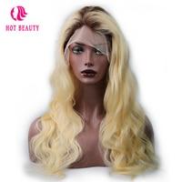 Hot Beauty Hair T4/613 Colore Biondo 18 24 pollice Brasiliana Del Corpo onda Dei Capelli di Remy Piena Parrucche Del Merletto Parrucca di Capelli Umani Fatti A Mano