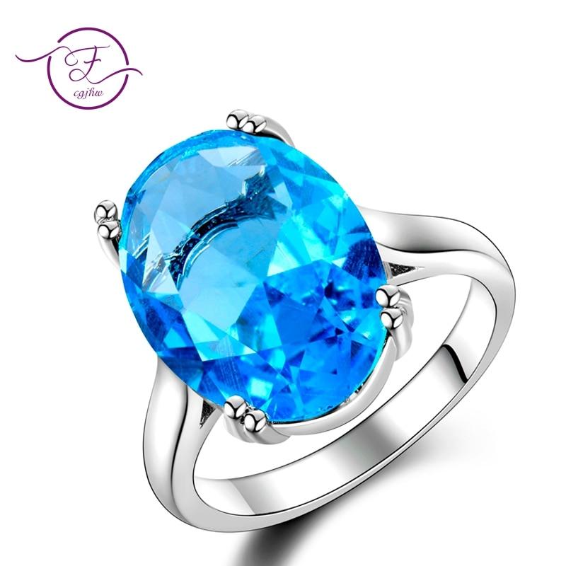 Womens Jewelry S925 Silver Ring AAAAA Sky Blue Sapphire